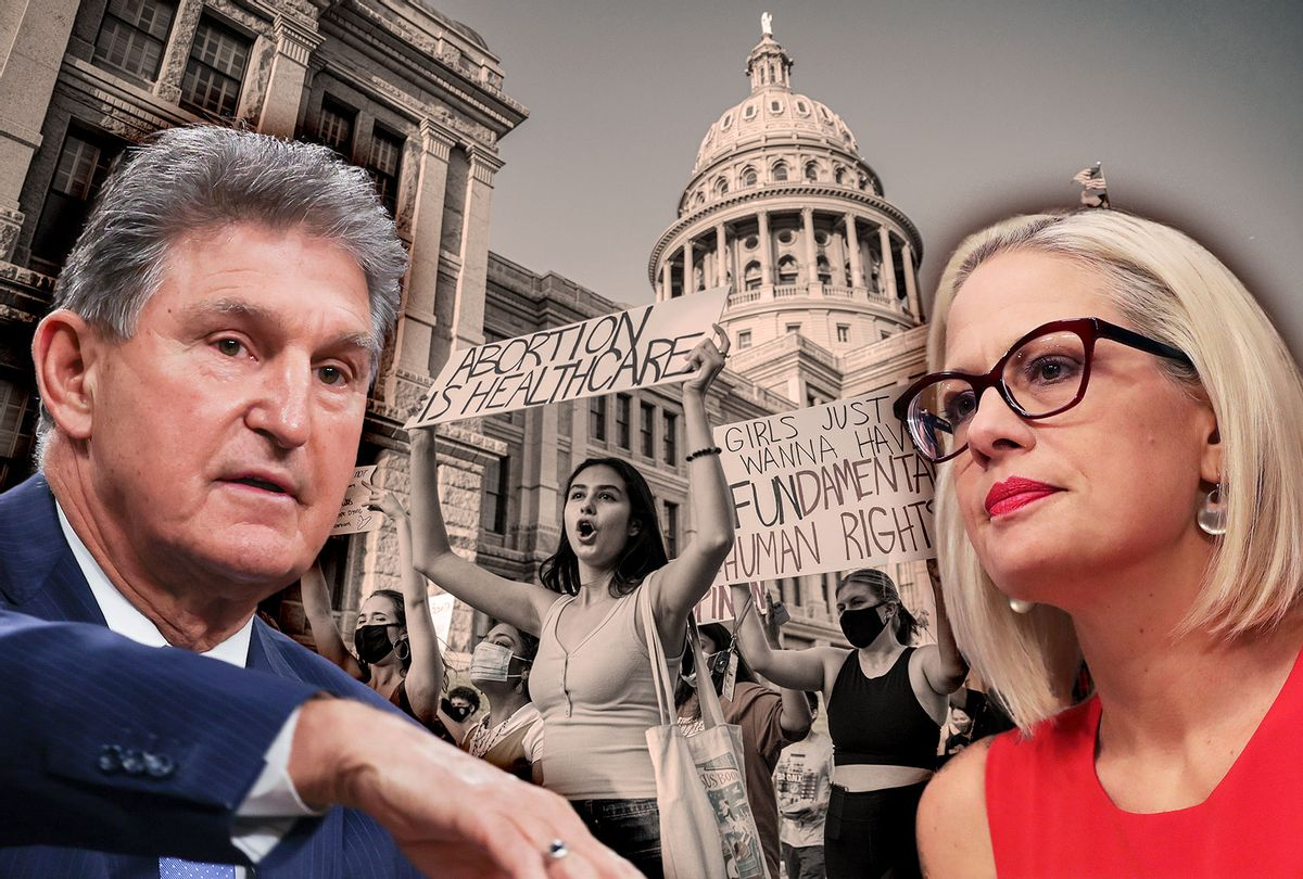Joe Manchin and Kyrsten Sinema | Pro-choice protesters march outside the Texas State Capitol on Wednesday, Sept. 1, 2021 in Austin, TX.  (Photo illustration by Salon/Getty Images)