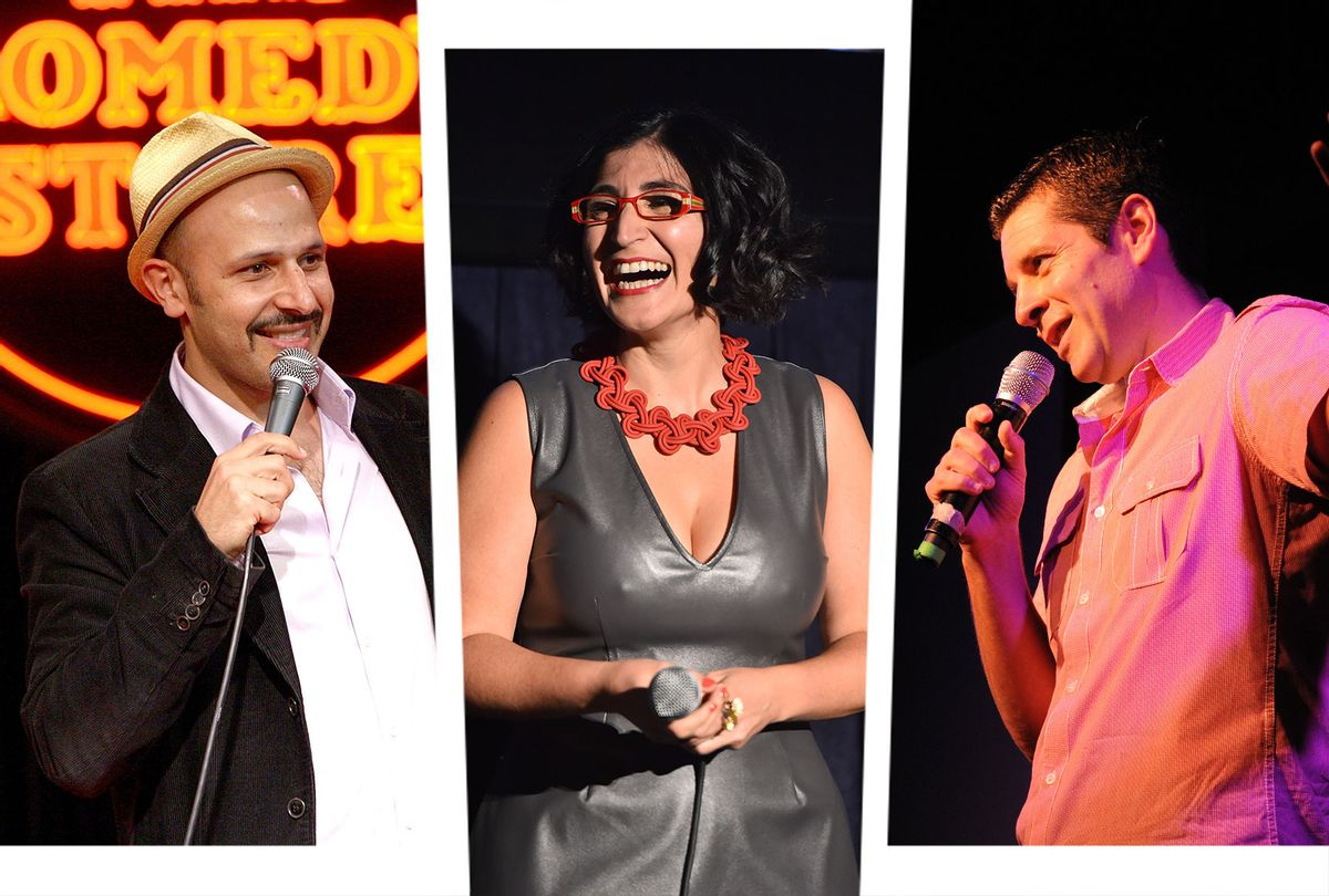 """Comedian Maz Jobrani performs at """"Loose Change"""" on October 29, 2008 in Los Angeles, California.   Writer/director Negin Farsad speaks onstage at the """"3rd Street Blackout"""" screening during the 2015 Los Angeles Film Festival on June 13, 2015 in Los Angeles, California.   Comedian Dean Obeidallah is seen performing in the liberal comedy show on Broadway called """"Laughing Liberally: This Ain't No Tea Party,"""" on April 11, 2011 in Manhattan, NY. (Photo illustration by Salon/Getty Images/Alberto E. Rodriguez/Jennifer S. Altman)"""