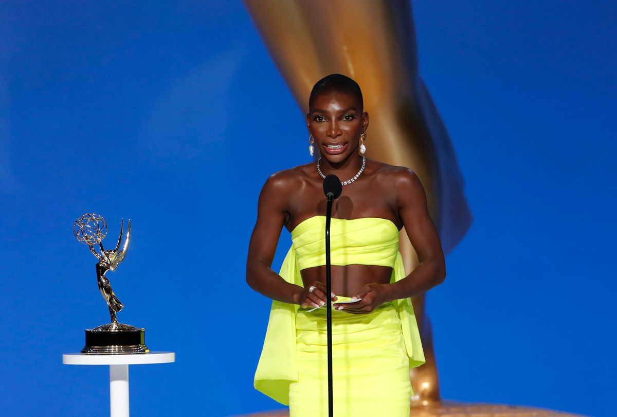 """Michaela Coel accepting for writing """"I May Destroy You"""" at the Emmys 2021 (Cliff Lipson/CBS)"""