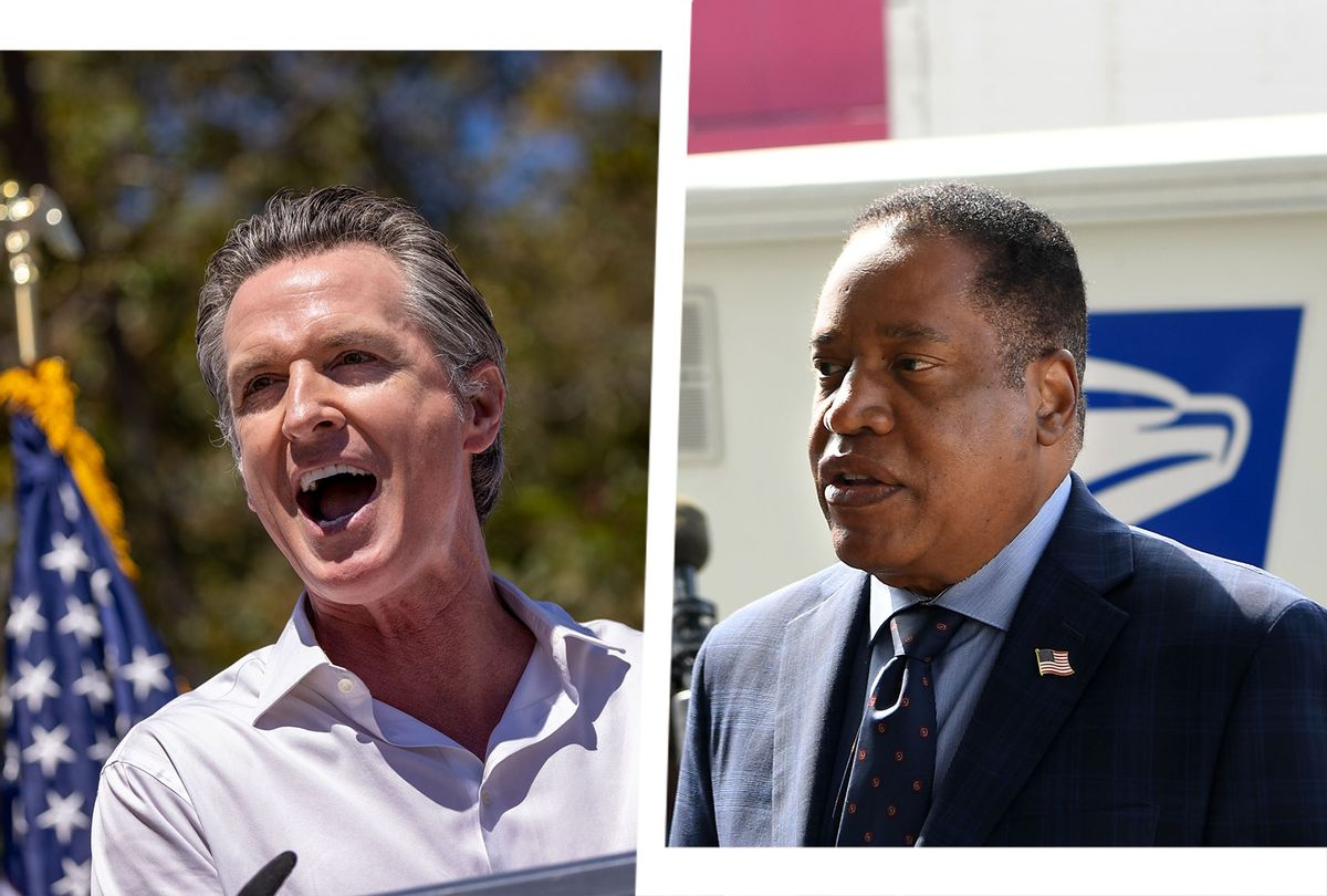 California Governor Gavin Newsom and Republican gubernatorial candidate Larry Elder (Photo illustration by Salon/Getty Images/David McNew/Wally Skalij/Los Angeles Times)
