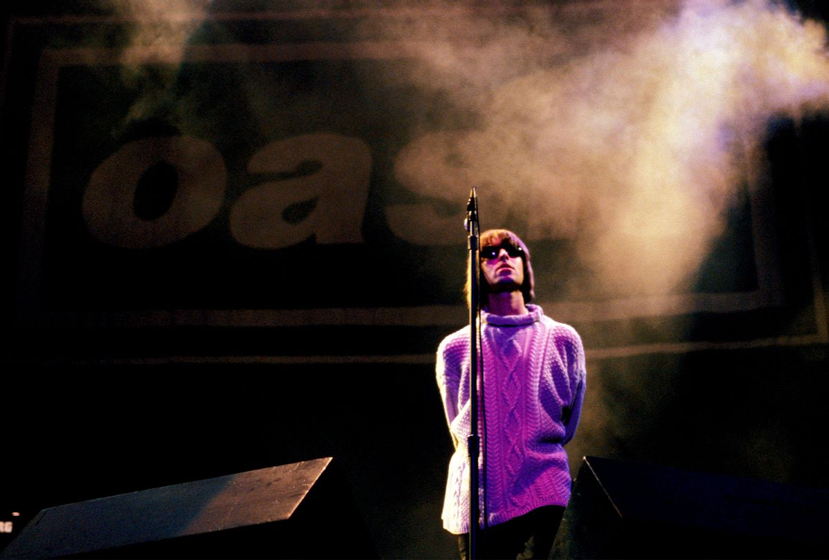 Liam Gallagher pictured on stage at Knebworth in 1996, when Oasis were at the height of their fame. (Roberta Parkin/Redferns/Permanent Press)