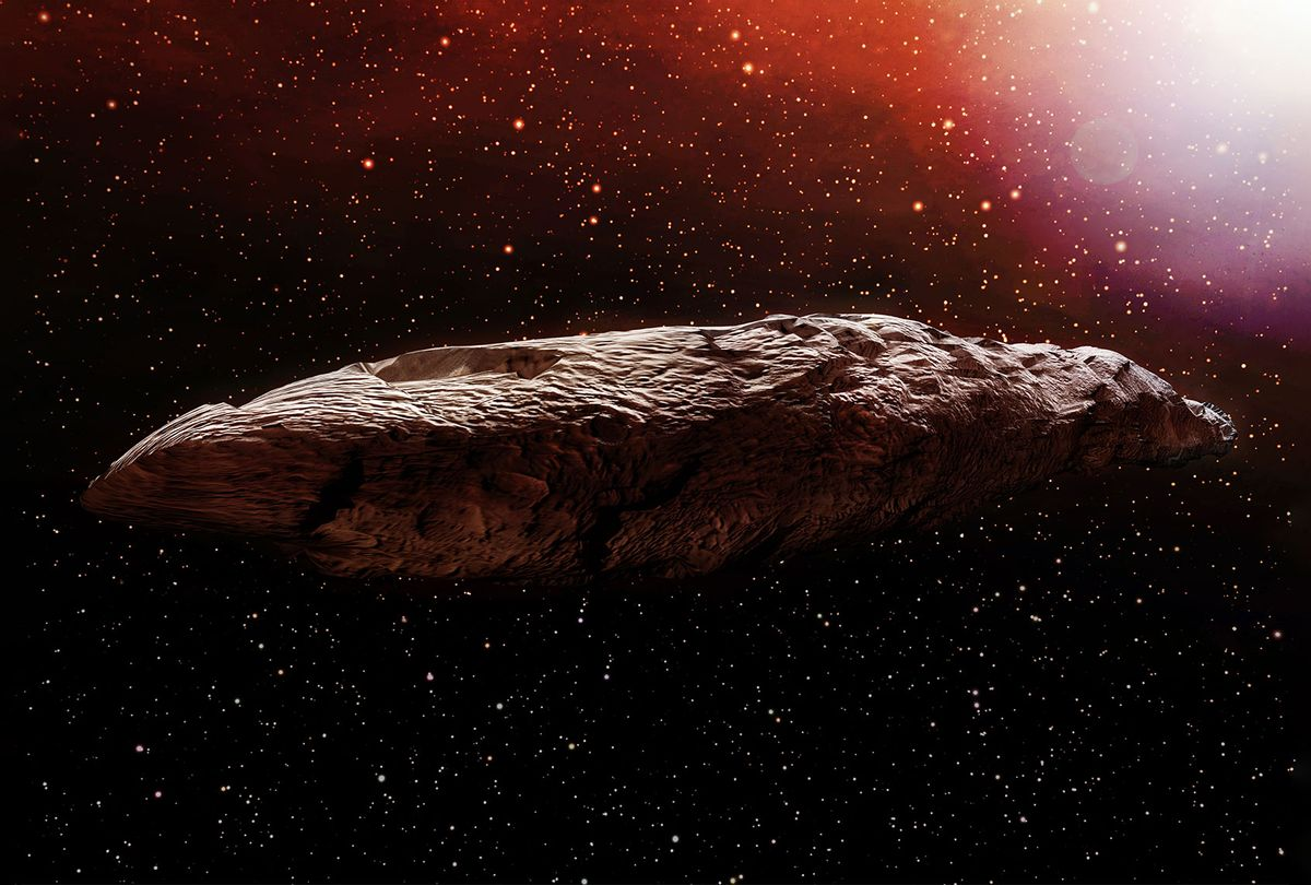 Originally classified as an asteroid, Oumuamua is an object estimated to be about 230 by 35 meters (800 ft x 100 ft) in size, travelling through our solar system. (Getty Images/Aunt_Spray)