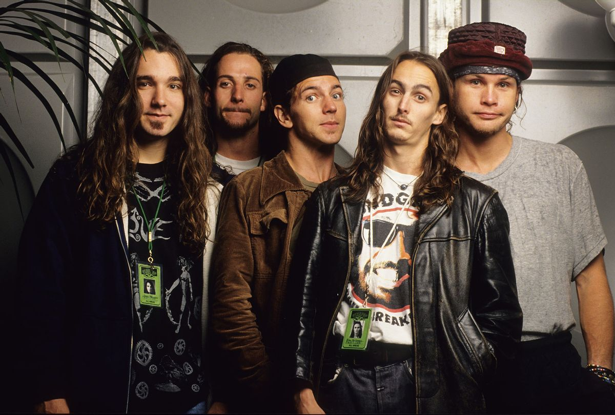 Pearl Jam band members Dave Abbruzzes, Stone Gossard, Eddie Vedder, Mike McCready,  and Jeff Ament at Pinkpop Festival in Landgraaf, Holland, August 1992. (Gie Knaeps/Getty Images)