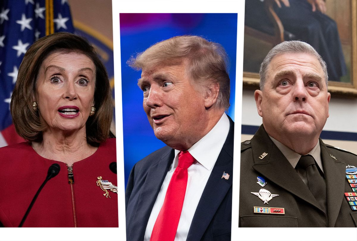 Nancy Pelosi, Donald Trump and Mark Milley (Photo illustration by Salon/Getty Images)