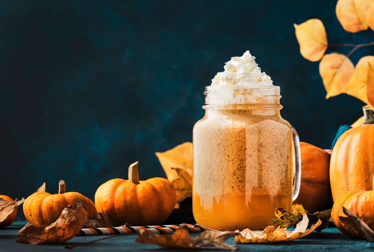 Pumpkin spiced drink in autumnal table setting (Getty Images/5PH)
