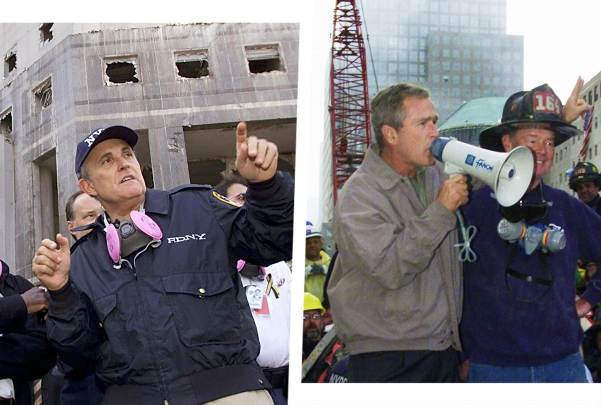 New York Mayor Rudolph Giuliani gives a tour of the World Trade Center attack site on 18 September, 2001, in New York. | George W. Bush speaks through a megaphone beside retired firefighter Bob Beckwith, 69, to firemen and other workers 14 September 2001 at the site of the destroyed World Trade Center. (Photo illustration by Salon/Getty Images/PAUL J. RICHARDS/TIMOTHY A. CLARY)