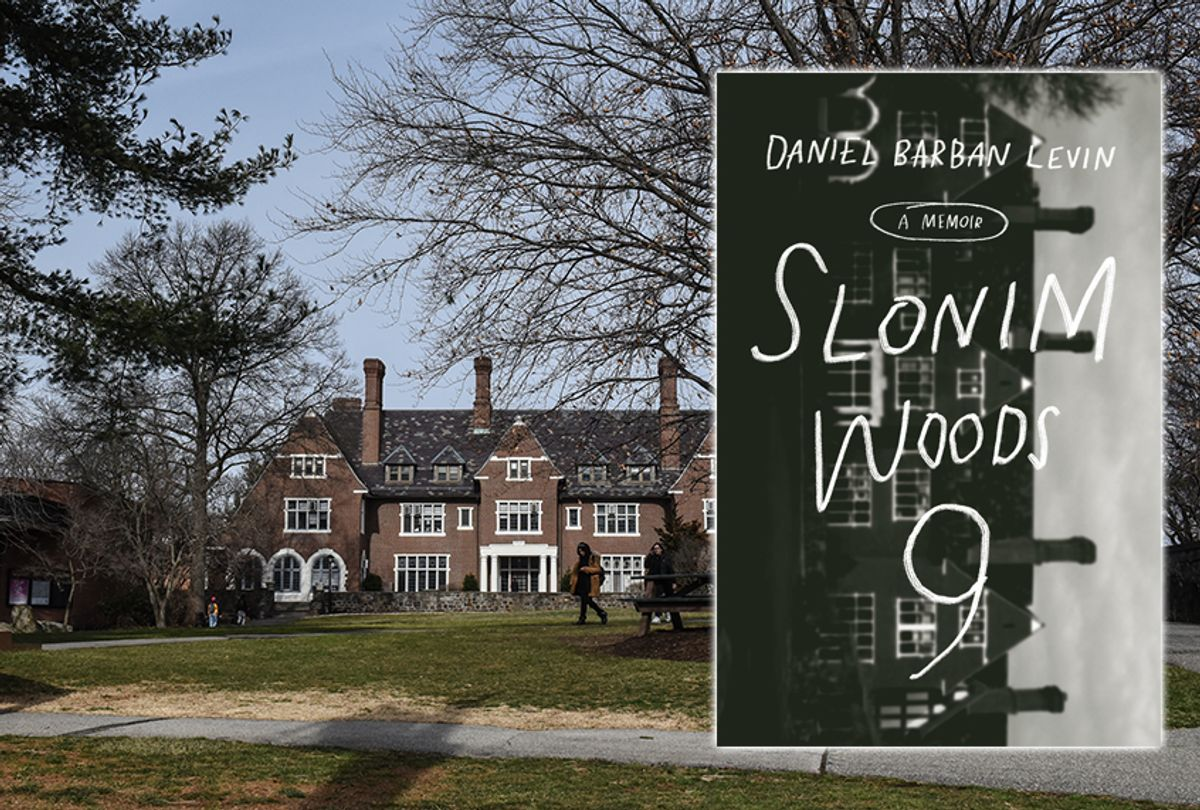 """Sarah Lawrence College in Bronxville, New York (Photo by Stephanie Keith); Daniel Barban Levin's book """"Slonim Woods 9"""" (Photo illustration by Salon/Getty/Penguin Random House) (Salon/Getty/Penguin Random House)"""