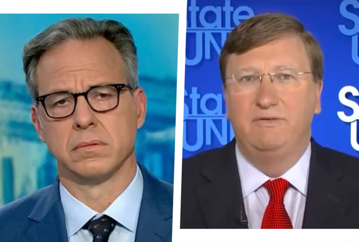 CNN's Jake Tapper during an interview with Mississippi Gov. Tate Reeves on Sept. 19, 2021.  (CNN)
