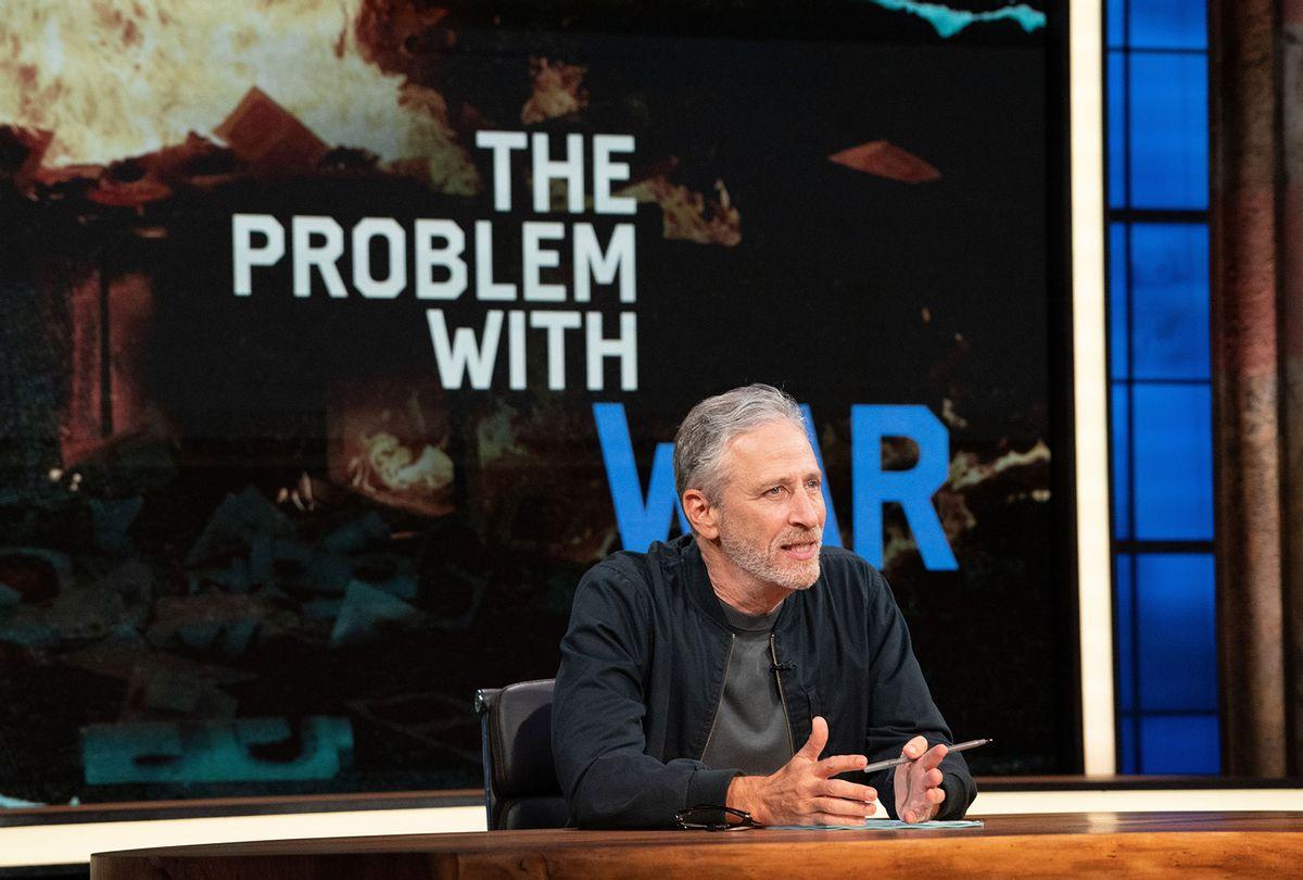 """Jon Stewart on the set of """"The Problem With Jon Stewart"""" (Apple TV+)"""
