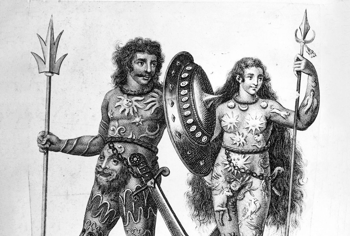 Illustration of two Picts, supposedly covered in body paint or tattoos, circa 300 BC (Hulton Archive/Getty Images)