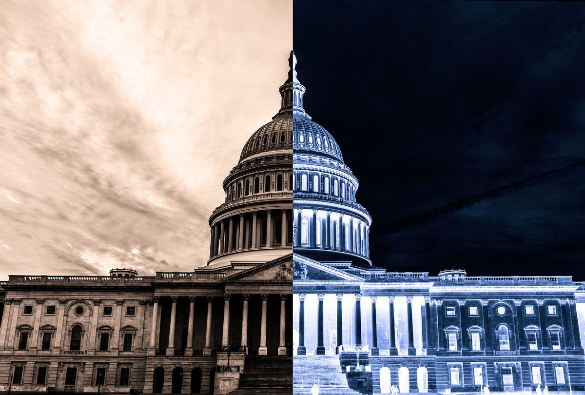 US Capitol Building, half inverted (Photo illustration by Salon/Getty Images/mbell)