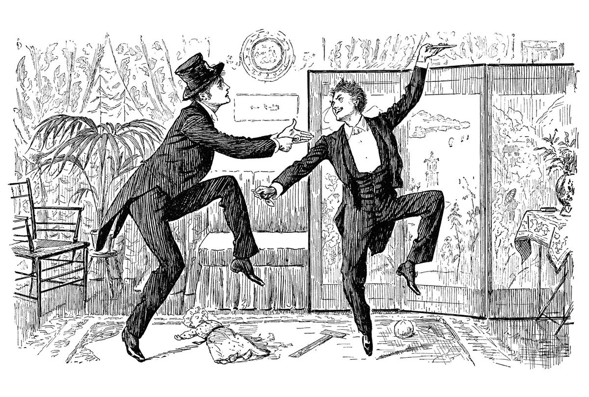 Illustration of two Victorian gentlemen dancing a jig (Whitemay/Getty Stock Images)