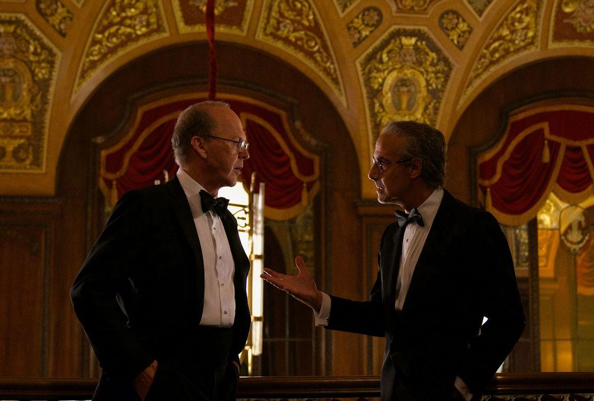 "Michael Keaton as Kenneth Fienberg and Stanley Tucci as Charles Wolf in ""Worth"" (Monika Lek/Netflix)"
