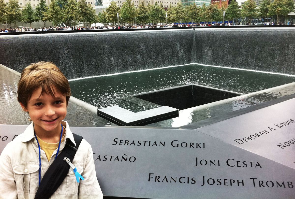 """Young Nick Gorki of """"Generation 9/11"""" at the memorial pools (Courtesy of the Gorki family)"""