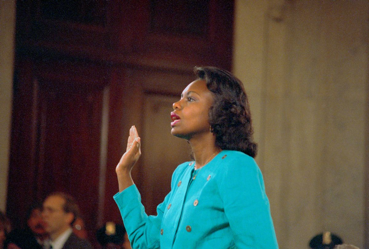 Professor Anita Hill is sworn in before testifying at the Senate Judiciary hearing on the Clarence Thomas Supreme Court nomination (Bettman/Getty Images)