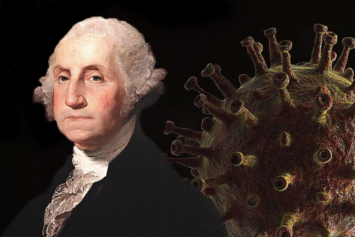 George Washington; the SARS-CoV-2 virus. (Photo illustration by Salon/Getty Images)