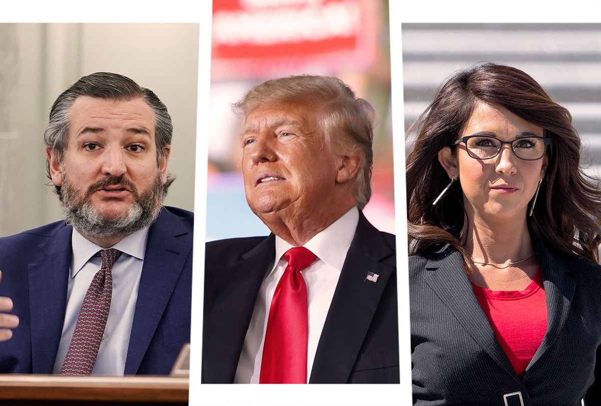 Ted Cruz, Donald Trump and Lauren Boebert (Photo illustration by Salon/Getty Images)
