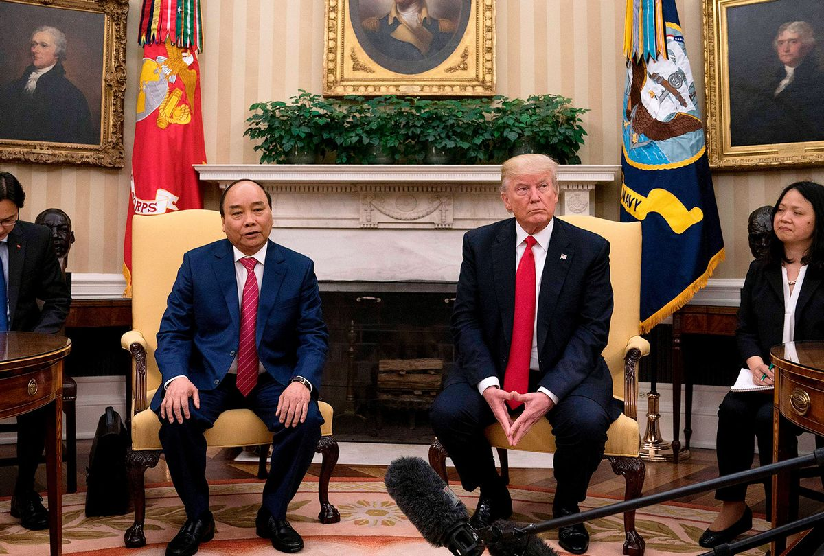 US President Donald Trump (R) meets with Vietnamese Prime Minister Nguyen Xuan Phuc at the White House in Washington, DC, May 31, 2017. (JIM WATSON/AFP via Getty Images)