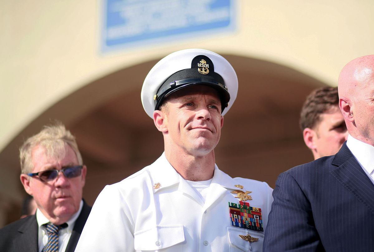 Navy Special Operations Chief Edward Gallagher celebrates after being acquitted of premeditated murder at Naval Base San Diego July 2, 2019 in San Diego, California. Gallagher was found not guilty in the killing of a wounded Islamic State captive in Iraq in 2017. He was cleared of all charges but one of posing for photos with the dead body of the captive. (Sandy Huffaker/Getty Images)