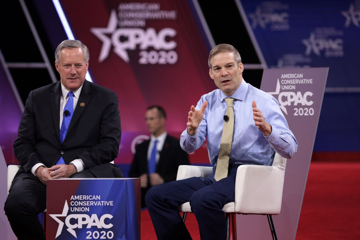 U.S. Rep. Mark Meadows (R-NC) and Rep. Jim Jordan (R-OH) participates in a discussion during the annual Conservative Political Action Conference (CPAC) at Gaylord National Resort & Convention Center February 27, 2020 in National Harbor, Maryland. (Alex Wong/Getty Images)
