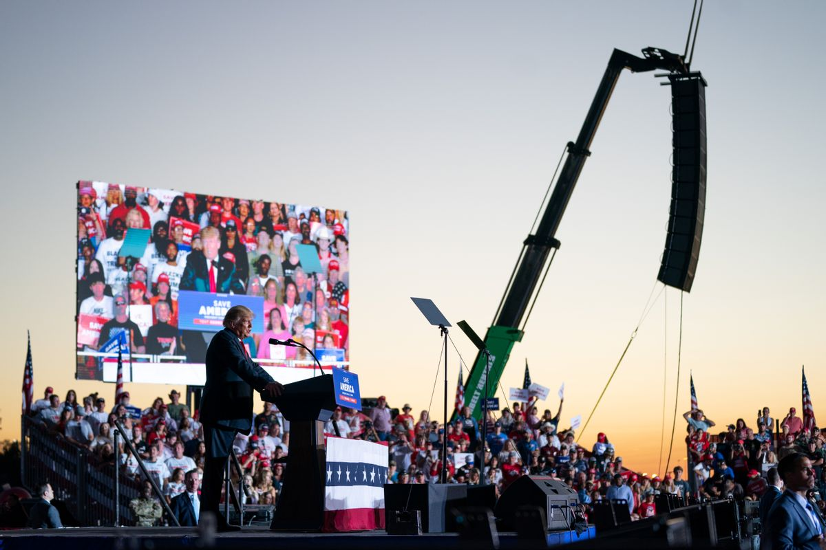 Former US President Donald Trump speaks at a rally on September 25, 2021 in Perry, Georgia. (Sean Rayford/Getty Images)