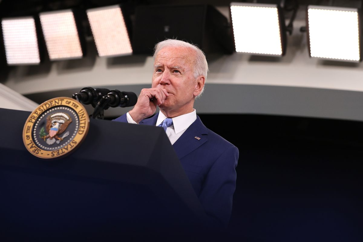 U.S. President Joe Biden delivers remarks on the September jobs numbers in the South Court Auditorium in the Eisenhower Executive Office Building on October 08, 2021. (Chip Somodevilla/Getty Images)