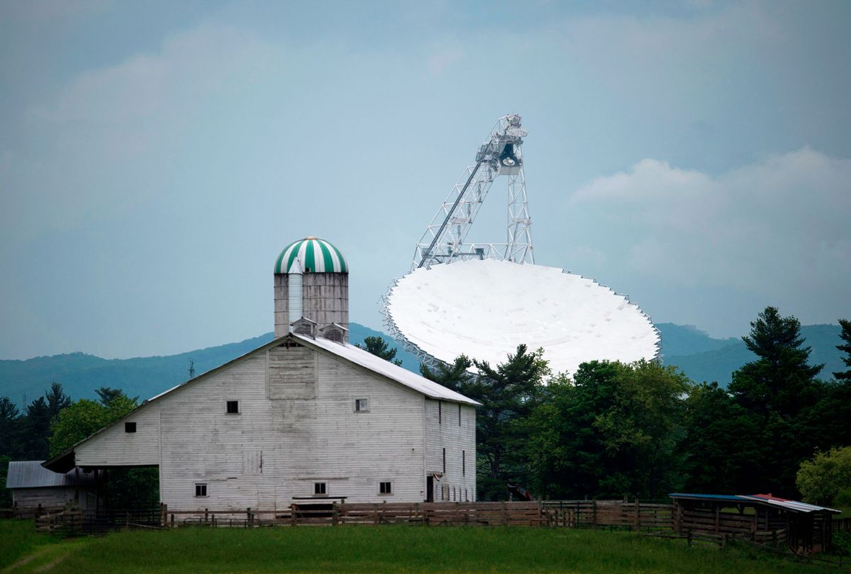 The Green Bank Telescope is seen in Green Bank, West Virginia on May 28, 2018. Green Bank is part of the US Radio Quiet Zone, where wireless telecommunications signals are banned to prevent transmissions interfering with a number of radio telescopes in the area. (ANDREW CABALLERO-REYNOLDS/AFP via Getty Images)