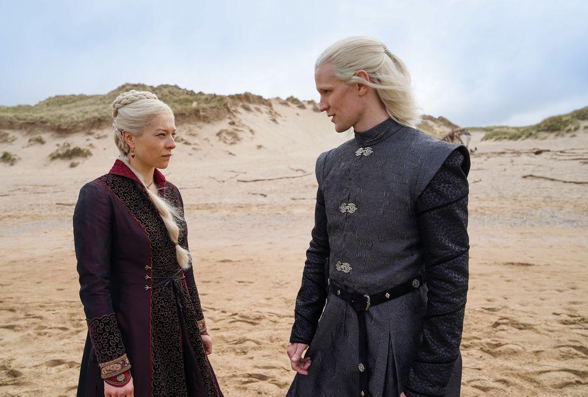 "Emma D'Arcy as Princess Rhaenyra Targaryen and Matt Smith as Prince Daemon Targaryen in ""Game of Thrones"" prequel ""House of the Dragon"" (Ollie Upton/HBO)"