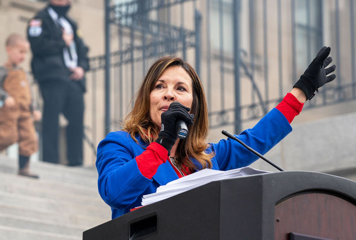 Idaho Lieutenant Governor Janice McGeachin speaks during a mask burning event at the Idaho Statehouse on March 6, 2021 in Boise, Idaho. (Nathan Howard/Getty Images)