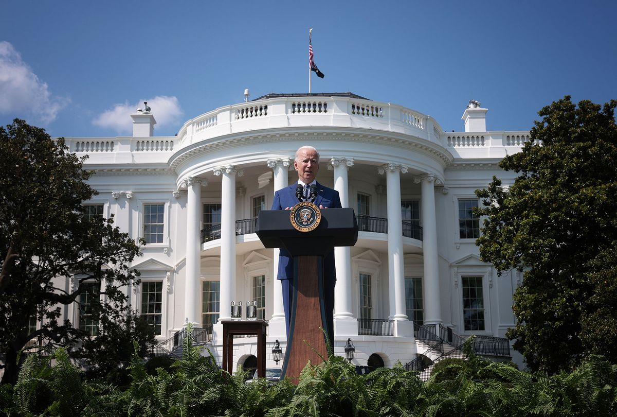 U.S. President Joe Biden delivers remarks during an event on the South Lawn of the White House August 5, 2021 in Washington, DC. (Win McNamee/Getty Images)