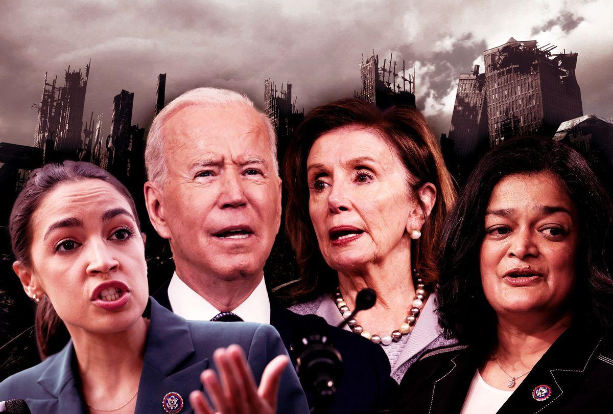 Alexandria Ocasio-Cortez, Joe Biden, Nancy Pelosi and Pramila Jayapal (Photo illustration by Salon/Getty Images)