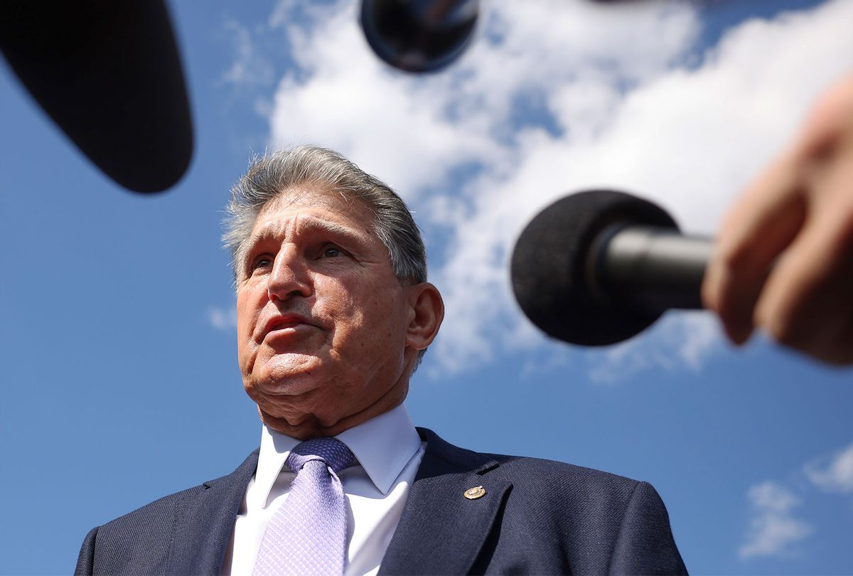 Sen. Joe Manchin (D-WV) speaks to reporters outside of the U.S. Capitol on September 30, 2021 in Washington, DC. (Kevin Dietsch/Getty Images)