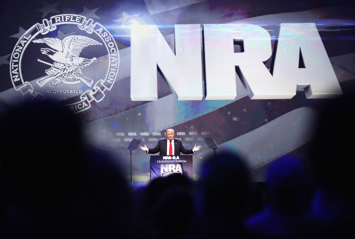 Republican presidential candidate Donald Trump speaks at the National Rifle Association's NRA-ILA Leadership Forum during the NRA Convention at the Kentucky Exposition Center on May 20, 2016 in Louisville, Kentucky. The NRA endorsed Trump at the convention. (Scott Olson/Getty Images)