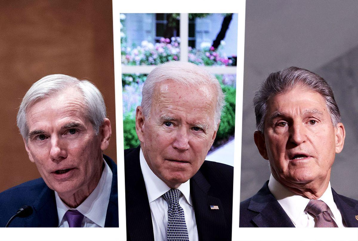 Rob Portman, Joe Biden and Joe Manchin (Photo illustration by Salon/Getty Images)