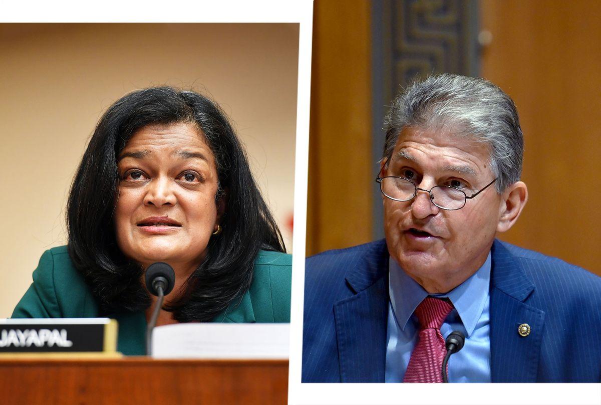 Pramila Jayapal and Joe Manchin (Photo illustration by Salon/Getty Images)