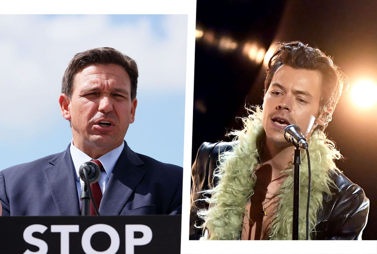 Ron DeSantis and Harry Styles (Photo illustration by Salon/Getty Images)