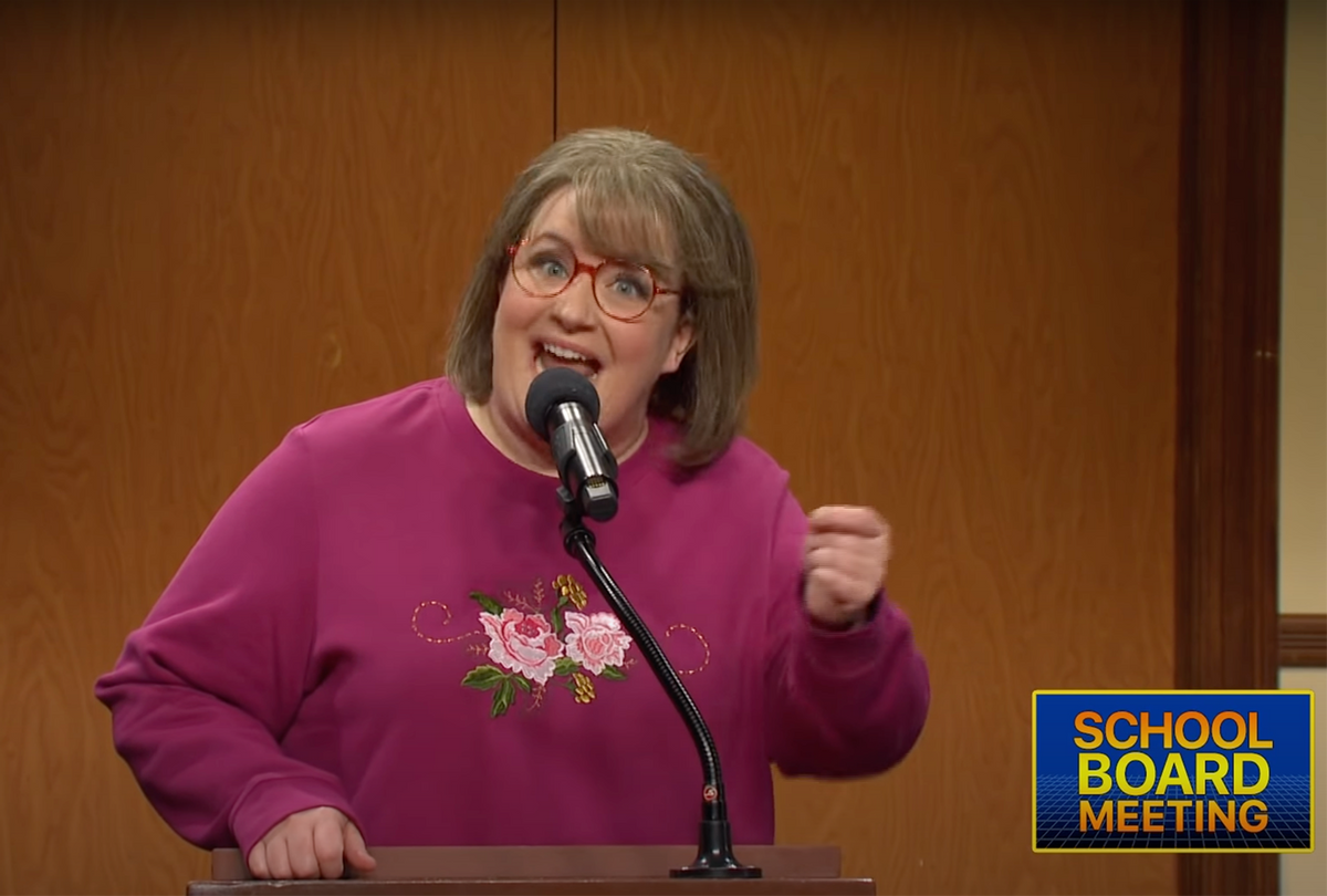 SNL cast member Aidy Bryant plays an unhinged parent at a school board meeting. (NBC)