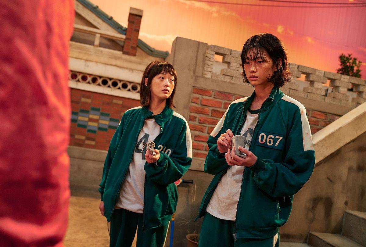 "Lee Yoo-mi as Ji-yeong and Jung Ho-yeon as Kang Sae-byeok in ""Squid Game"" (YOUNGKYU PARK/Netflix)"