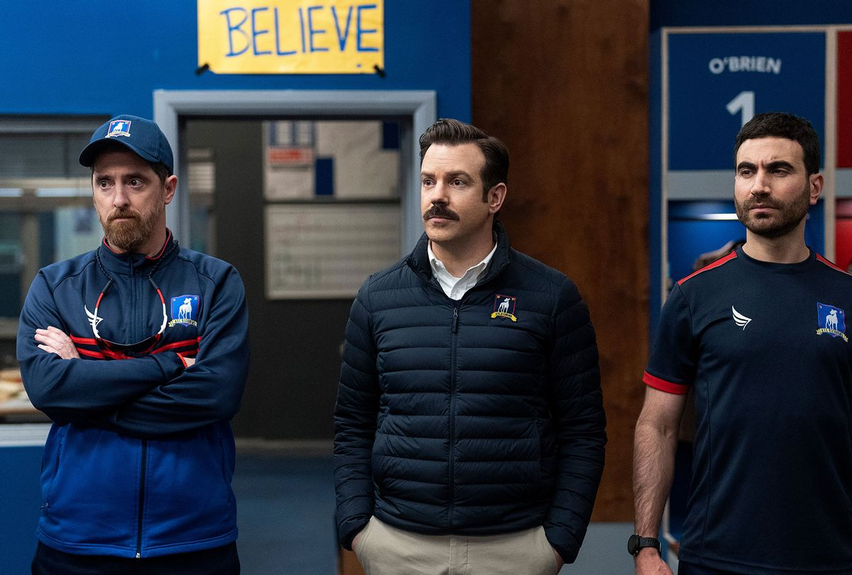 "Brendan Hunt, Jason Sudeikis and Brett Goldstein in ""Ted Lasso"" (Apple TV+)"