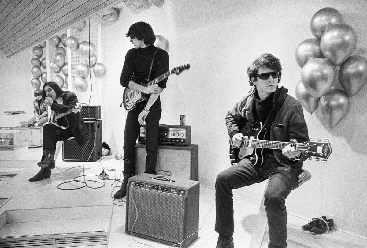 """Moe Tucker, John Cale, Sterling Morrison and Lou Reed from archival photography from """"The Velvet Underground"""" (Apple TV+)"""