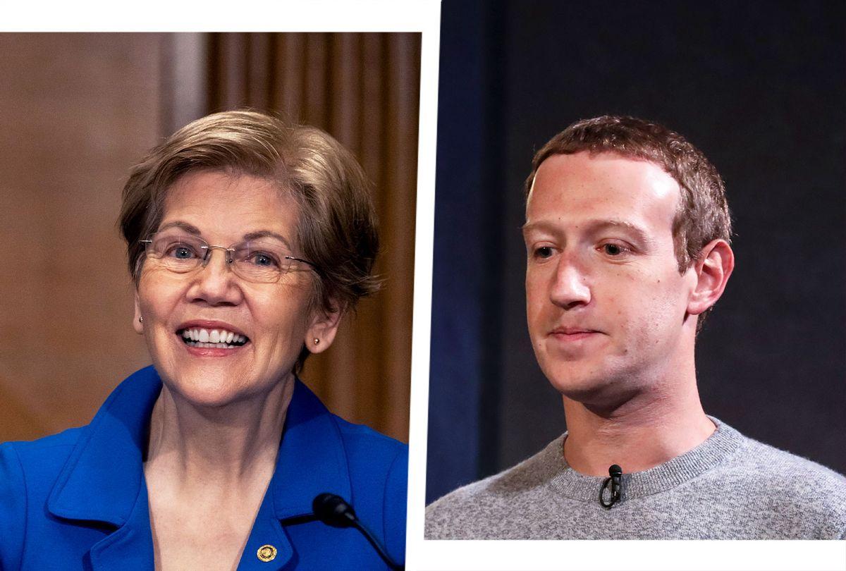 Elizabeth Warren and Mark Zuckerberg (Photo illustration by Salon/Getty Images)