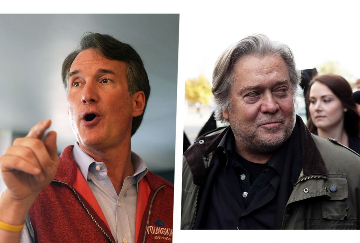Glenn Youngkin and Steve Bannon (Photo illustration by Salon/Getty Images)