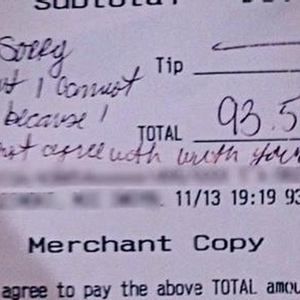 Another homophobic jerk leaves waiter hateful note in place