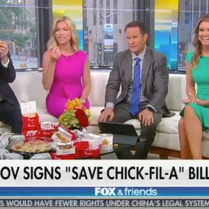 While eating Chick-fil-A, Fox News hosts praise Texas governor for signing religious freedom bill