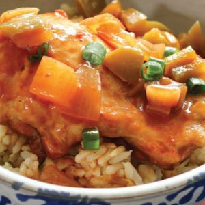 Pineapple elevates this sweet of sour chicken, which is best served over jasmine rice