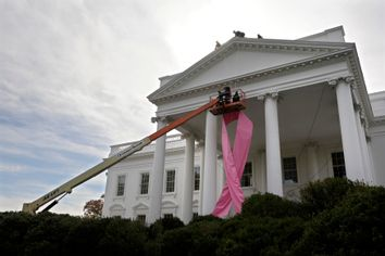 Workers hoist a pink ribbon in honor of breast cancer awareness on the front of the White House in Washington
