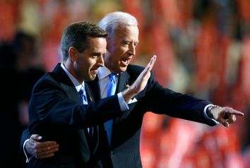 Attorney General Beau and Vice Presidential candidate Senator Biden gesture on stage at the 2008 Democratic National Convention in Denver