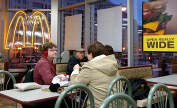 The interior of a McDonald's restaurant is seen in Washington D.C.