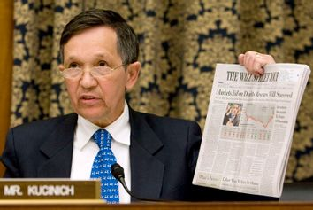 Congressman Dennis Kucinich at U.S. House hearing on effects of the AIG bailout on Capitol Hill