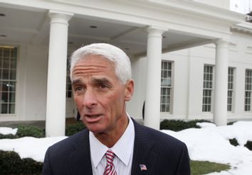 Florida Governor Crist speaks after National Governors Association meeting at the White House in Washington